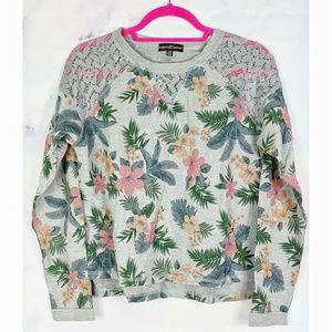Gray Floral Print French Terry Sweatshirt Size S